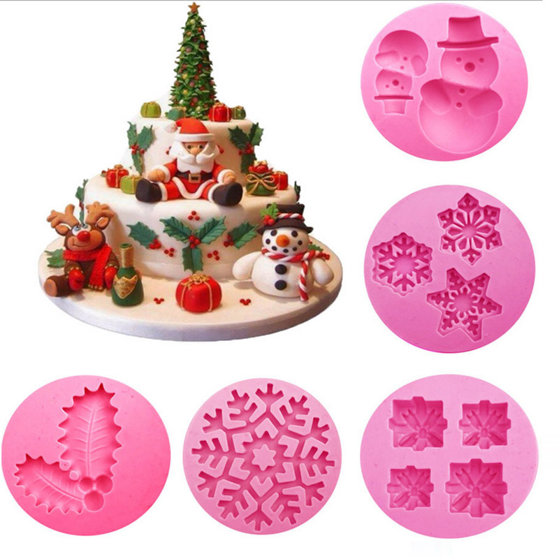 Mould Chritmas Silicone Mold Leaves Snowman Snowflake Gift Fondant DIY Cake Decorating F ...