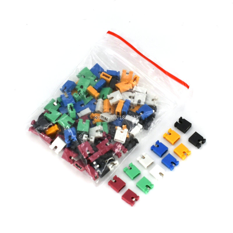120PCS Colorful Pin Header Standard Computer Jumper Blocks Connector 2.54 Mm 3 1/2 Hard Disk Drive Motherboard Expansion Card