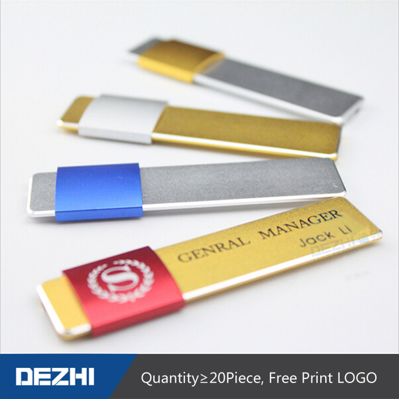 DEZHI-1802 20pcs/lot Customized Pin Type Metal Name Badge ID Holder 70X20mm With Pin For Manager Staff, Logo Customize