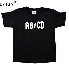 ABCD/Детская футболка с буквенным принтом, рубашка для мальчиков и девочек, одежда для малышей, Забавные футболки, Z-80