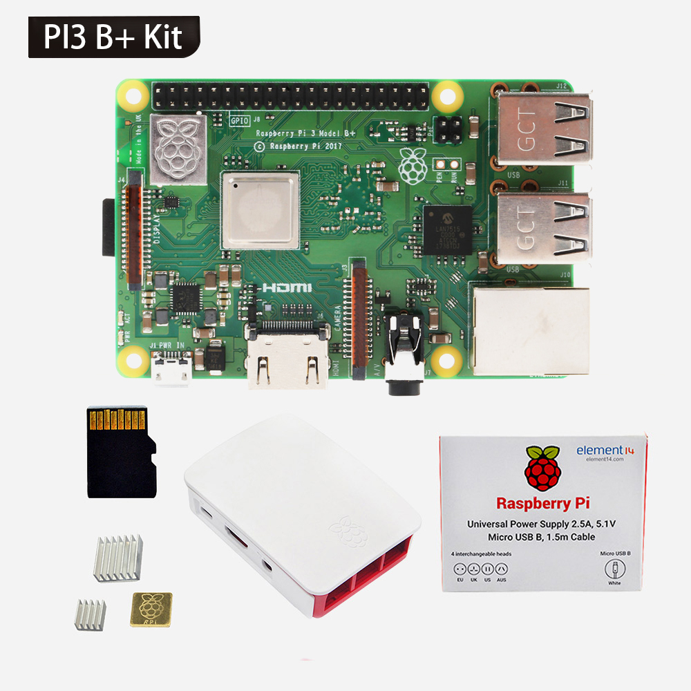 Raspberry Pi 3 B + B Plus) Kit De Démarrage (2.5A Alimentation, Étui Officiel, 16 gb Carte SD, 3 Dissipateurs)