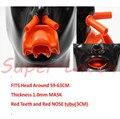 Máscara de látex Máscara máscara 3D 1.0mm Hombres De Látex Pesado con Los Dientes de Color Rojo Y Rojo tubo de la nariz Pesada (Ajustes 59-63 cm)