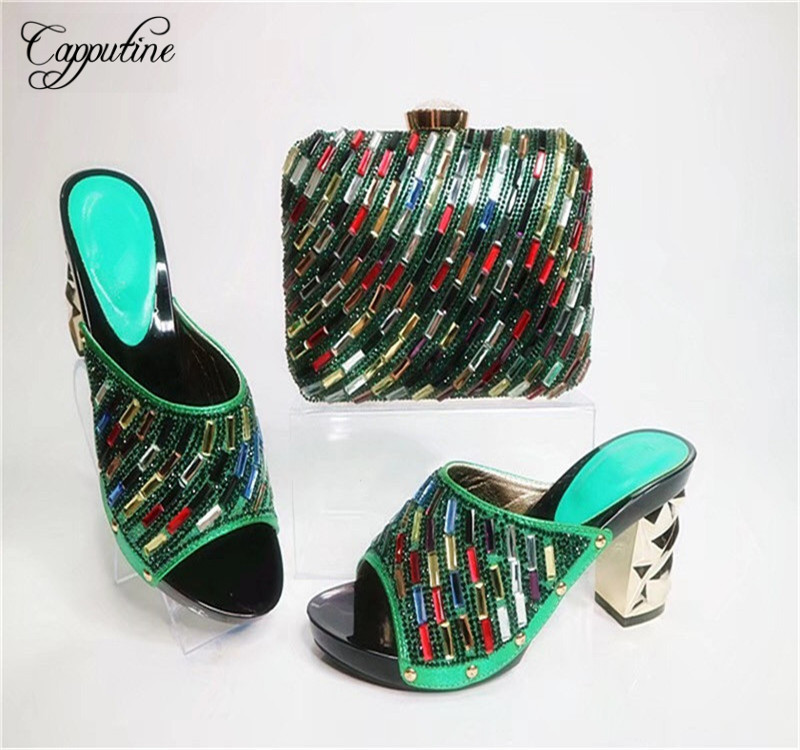 Capputine Latest Style African Shoes And Bag Set New Italian High Heels Shoes And Matching Bag Set For Party Dress G23 capputine high quality crystal super high heels shoes and bag set italian style woman shoes and bag set for wedding party g33