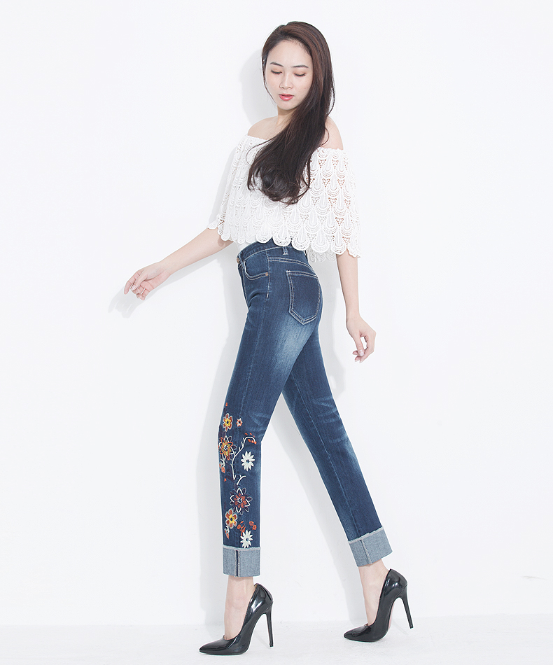 KSTUN Womens Jeans Slim Straight High Waist Quality Brand Summer Embroidered Floral Stretch Cuffs Denim Pants Casual Large Size 14