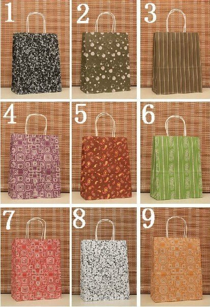 wholesale!Free shipping 9 Style Colorful   Fashion Gift Bag  Kraft  Paper Bag 27*21*11cm (50pcs/lot)