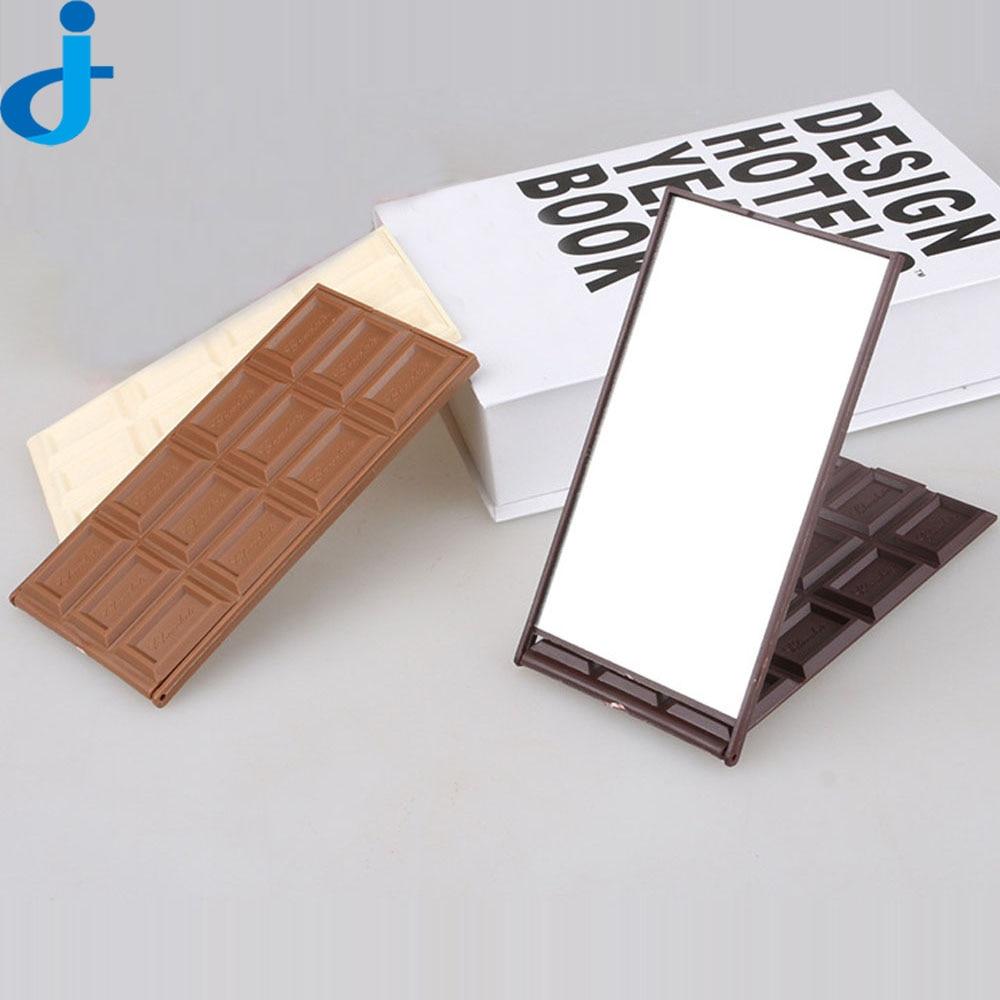 espejos cuadrados de chocolate galletas espejo de maquillaje espejo portable de la manera creativa plegable miroir