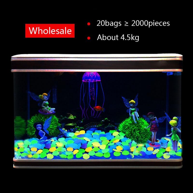 Wholesale Luminous Stones Mix Color Garden Decor Glow in Dark Fish Tank Decoration 4 5kg 2000pcs