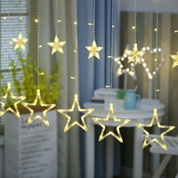 Curtain Star String Lights AC 220V 6 10W Christmas Outdoor Lamp Wedding Decoration Party Garland Luminaria