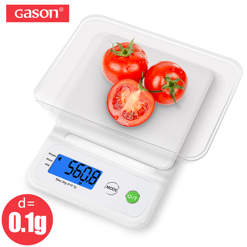 GASON <font><b>C3</b></font> Kitchen Scale Weight LCD Display Accurate Digital Electronic Balance Household Cuisine Cooking Food Precision 3kg/0.1g