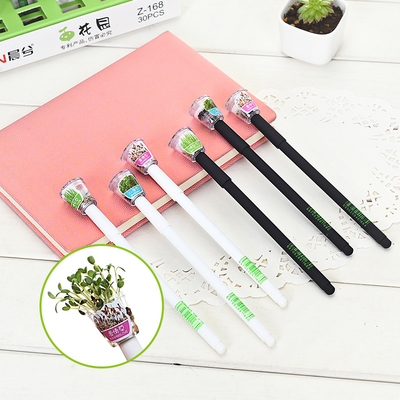 Creative cute gel pen 0.5 mm black ink Cover with Planting grass garden Learning stationery pen  black and white color free shipping high quality pvc id card tray for canon mp630 640 980 990 mg5220 5240 5250 inkjet printer pvc card tray 2pcs lot