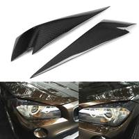 1Pair Carbon Fiber Headlight Eyebrows Cover Eyelids Trim For Bmw X1 E84 2009 2014 Car Styling For Front Headlight