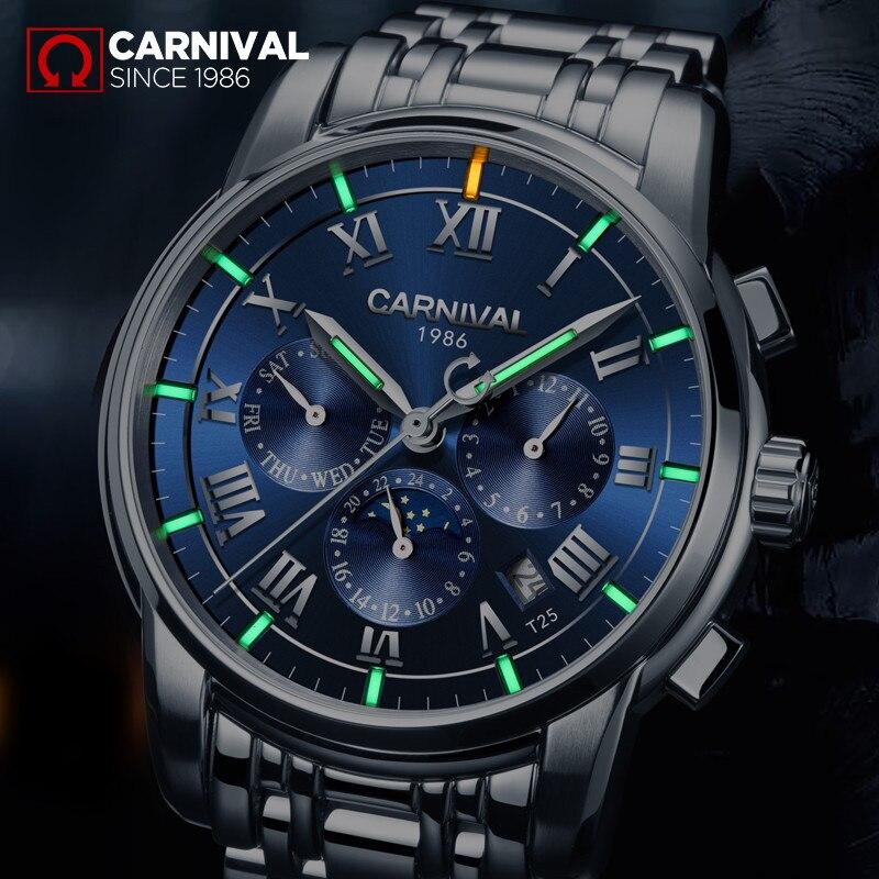 Luksusowe marki tryt T25 luminous zegarek wojskowy auto mechaniczne zegarki męskie pełna stali nierdzewnej wodoodporny zegar montre fazy księżyca reloj w Zegarki mechaniczne od Zegarki na  Grupa 1
