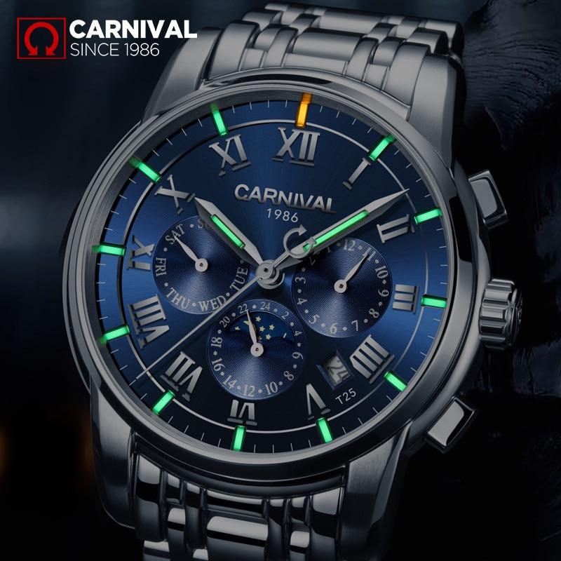 Luxury brand Tritium T25 luminous military watch auto mechanical men watches full steel waterproof clock montre moon phase reloj