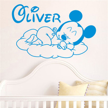 Creative New Mickey Mouse Goodnight Custom Kids Name baby wall stickers for kids rooms home decoration wall stickers