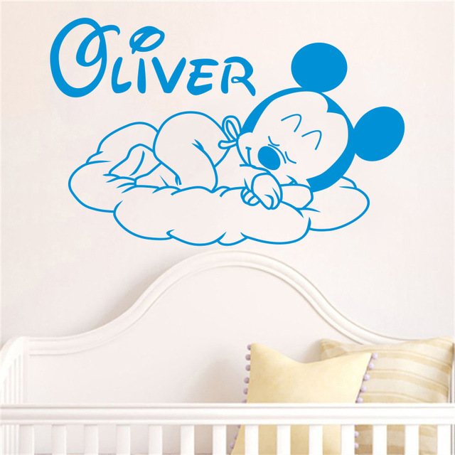 Creative New Mickey Mouse Goodnight Custom Kids Name baby wall stickers for kids rooms h ...