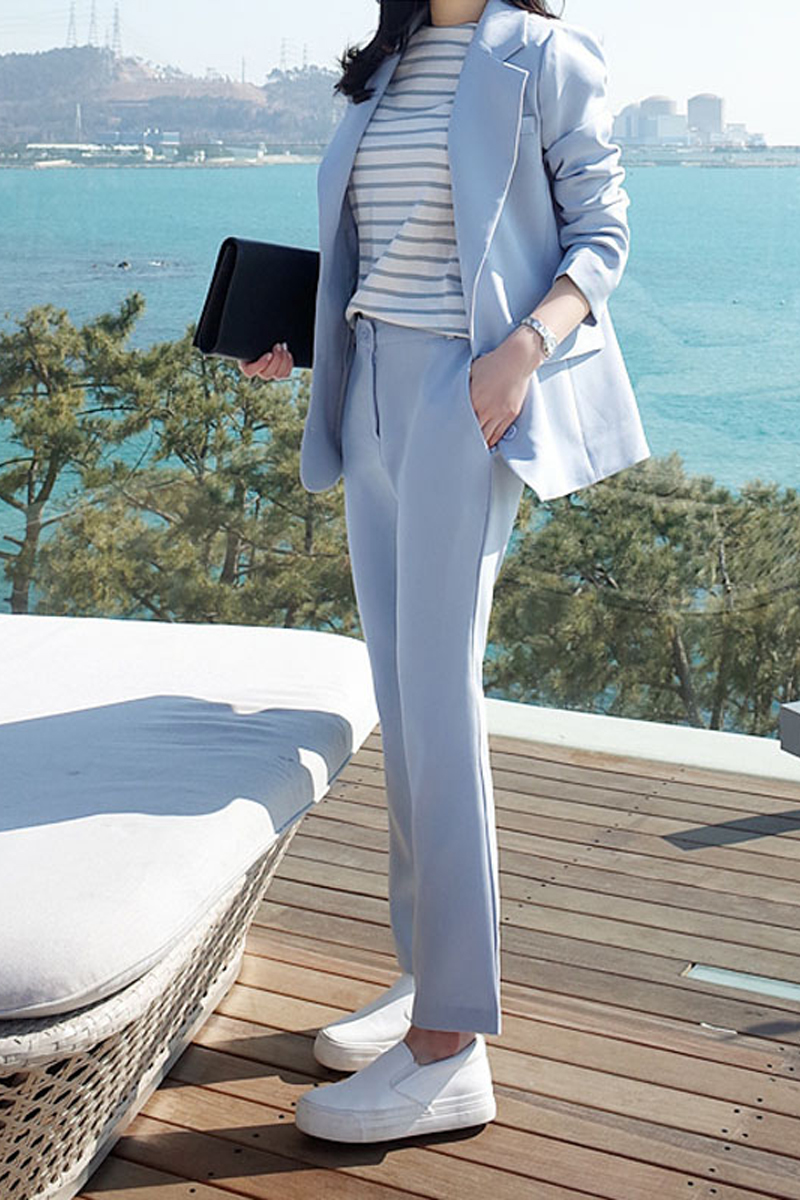 Work Pants Suits 2 Piece Sets Office Lady Suits Women Outfits Spring