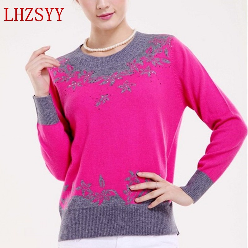 LHZSYY Autumn winter New Female Cashmere Sweater O-collar Inlaid design Sweaters knit