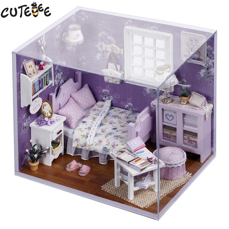 Home Decor DIY Wooden House Miniatura Craft With Furniture Home Decoration Accessories Figurines Miniature Mini Garden Gift H