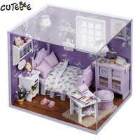 Home Decor DIY drewniany dom Miniatura Craft z meblami akcesoria do dekoracji domu figurki miniaturowy mini ogród prezent H