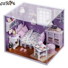 Home Decor Diy Houten Huis Miniatura Craft Met Meubilair Home Decoratie Accessoires Beeldjes Miniatuur Mini Tuin Gift H