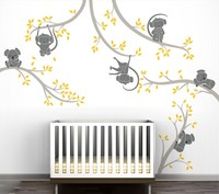 Monkey KoalaTree Branches Wall Stickers Decor Baby Kids Room Removable Vinyl Wall Decals High Quality Wallpaper Mural A021C