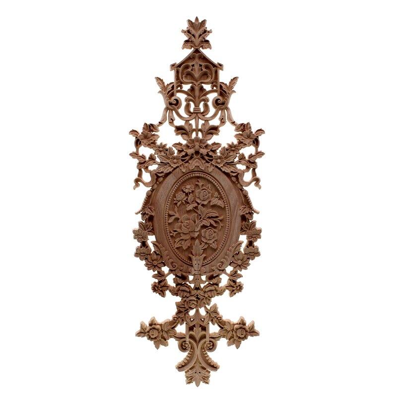 VZLX Appliques en Bois Figurines Décalque Meubles Sculptés Décor De Fenêtre Miniatures En Bois Artisanat Décoration De La Maison Accessoires BRICOLAGE