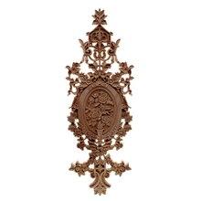 Vzlx apliques de madeira estatuetas decalque móveis esculpida decoração da janela miniaturas artesanato de madeira decoração para casa acessórios diy