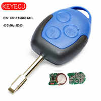 KEYECU Aftermarket FOB Chiave A Distanza 3 Button 433MHz 4D63 Chip per Ford Transit WM VM 2006-2014 FO21