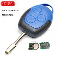 Keyecu Aftermarket Remote Key FOB 3 Button 433MHz 4D63 Chip for Ford Transit WM VM 2006 2014 FO21