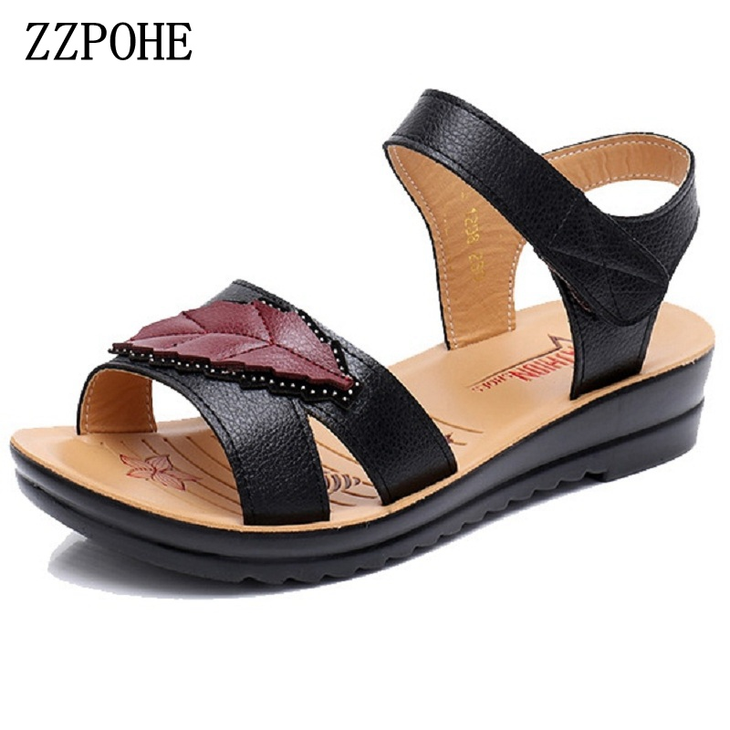 ZZPOHE 2018 Summer New Fashion Ladies Sandals middle-aged non-slip flat comfortable old shoes large size Soft bottom women shoes xq new breathable cloth shoes fashion women hollow out summer casual shoe air mesh flat shoes sandals non slip ladies shoes s102