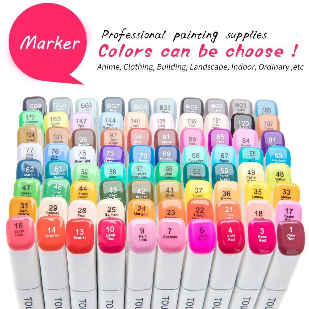 TOUCHNEW 40Color Art Marker -Dual Tips Alcohol Marker for Artist Sketching Drawing Design Markers Pen Set SuppliesTOUCHNEW 40Color Art Marker -Dual Tips Alcohol Marker for Artist Sketching Drawing Design Markers Pen Set Supplies