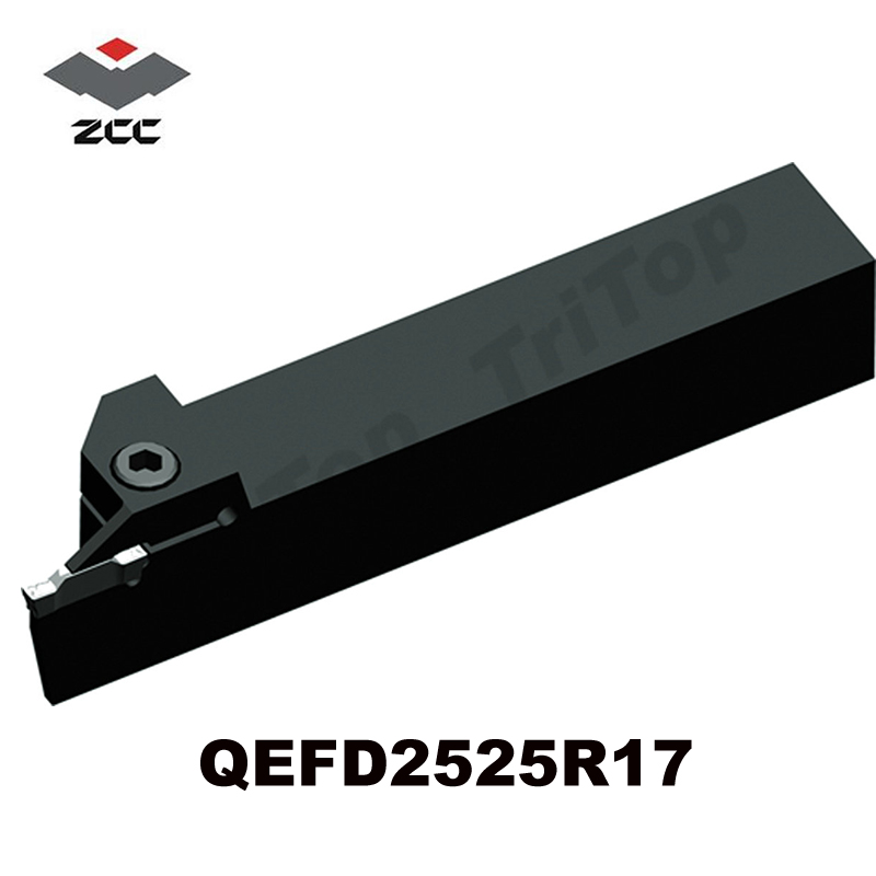 ZCC.CT brand new Parting and grooving Tools QEFD2525R17  CNC turning tool holder 2mm wide blade cutter rod 12mm outer diameter cutting arbor external grooving lathe tool holder width grooving parting cutting