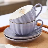 Coffee Cup And Saucer Set European Style Ceramic Simple Black Tea Cup