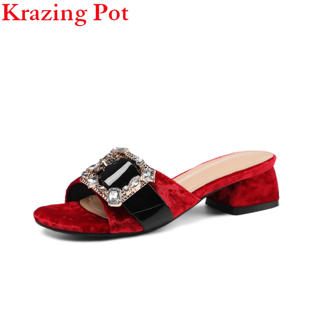 2017 New Wholesale Velvet Crystal Slingback Peep Toe Mules Med Heels Superstar Diamond Metal Buckle Sandals Slip on Slippers L08 mohammad mobasshir hussain mohammad sohail and m raziuddin role of vaccine candidate antigen polymorphism in malaria