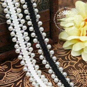 Cinta para ajustea-ali bordada con perlas laterales Doule a la moda, cordón en blanco y negro con bordado de perlas de imitación