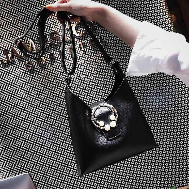 2pcs/Set Elegant Composite Bag Women Pearls Shoulder Bags Ladies PU Leather Crossbody Handbags Clutch Messenger Tote Zipper Bag