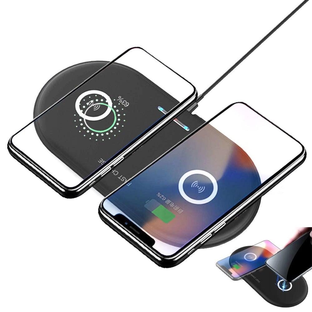 Rapide double qi chargeur sans fil pour iphone 8 x xs chargeur cargador inalambrico chargeur induction pour samsung s9 s8 s7 note 9 8
