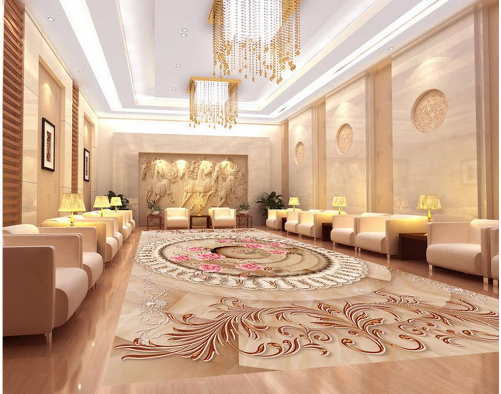 3d wallpaper pvc Marble abstract ring European style 3D flooring pvc self-adhesive wallpaper floor 3d wallpaper 3d pvc