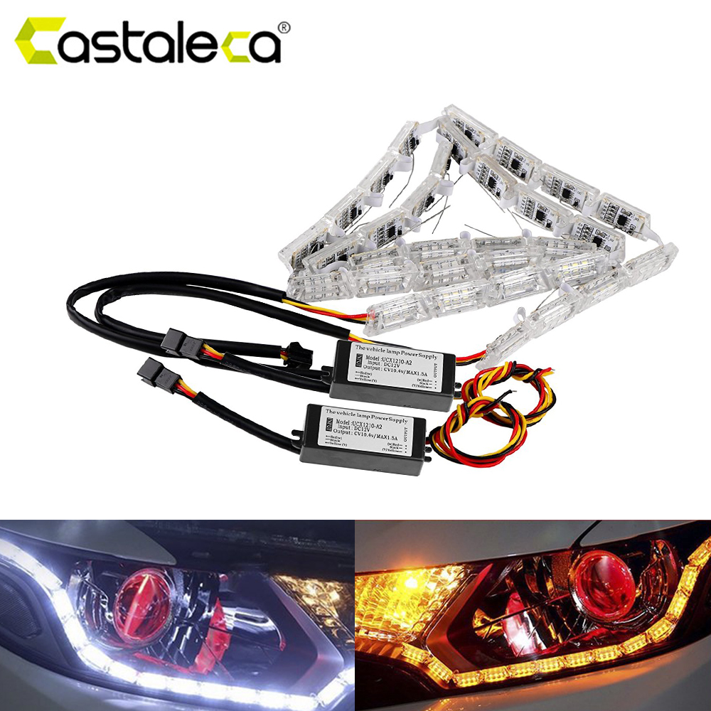 castaleca DRL LED Turn Signal light Car Flexible Switchback Daytime Running Light Sequential Flow Style Motorcycle car Styling 6pcs 60cm flexible tear strip switchback daytime running light drl with turn signal light 7 dual color fd 4767