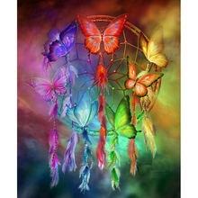 Yikee Алмазная картина «Ловец снов» с бабочками круглая вышивка