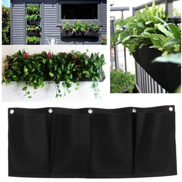 Outdoor Indoor Vertical Gardening Hanging Wall Garden 4 Pockets Planting  Bags Seedling Wall Planter Growing Bags