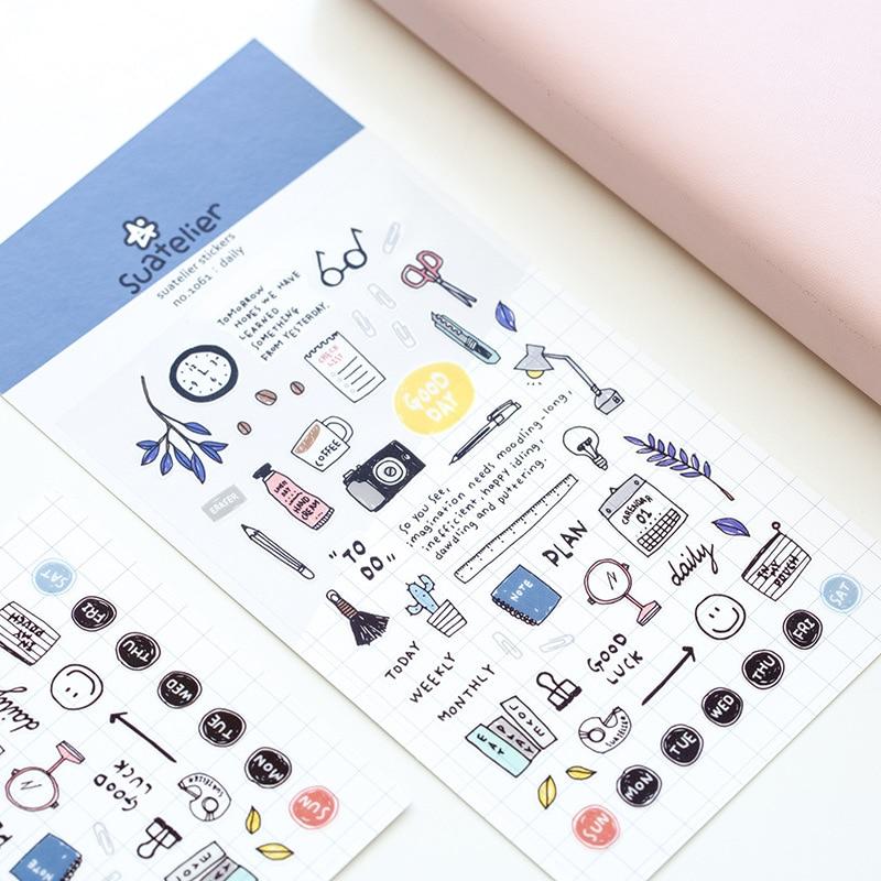 Wonderful Daily Adhesive Diy Sticker Stick Label Notebook Album Diary Decor Student Stationery Kids Gift