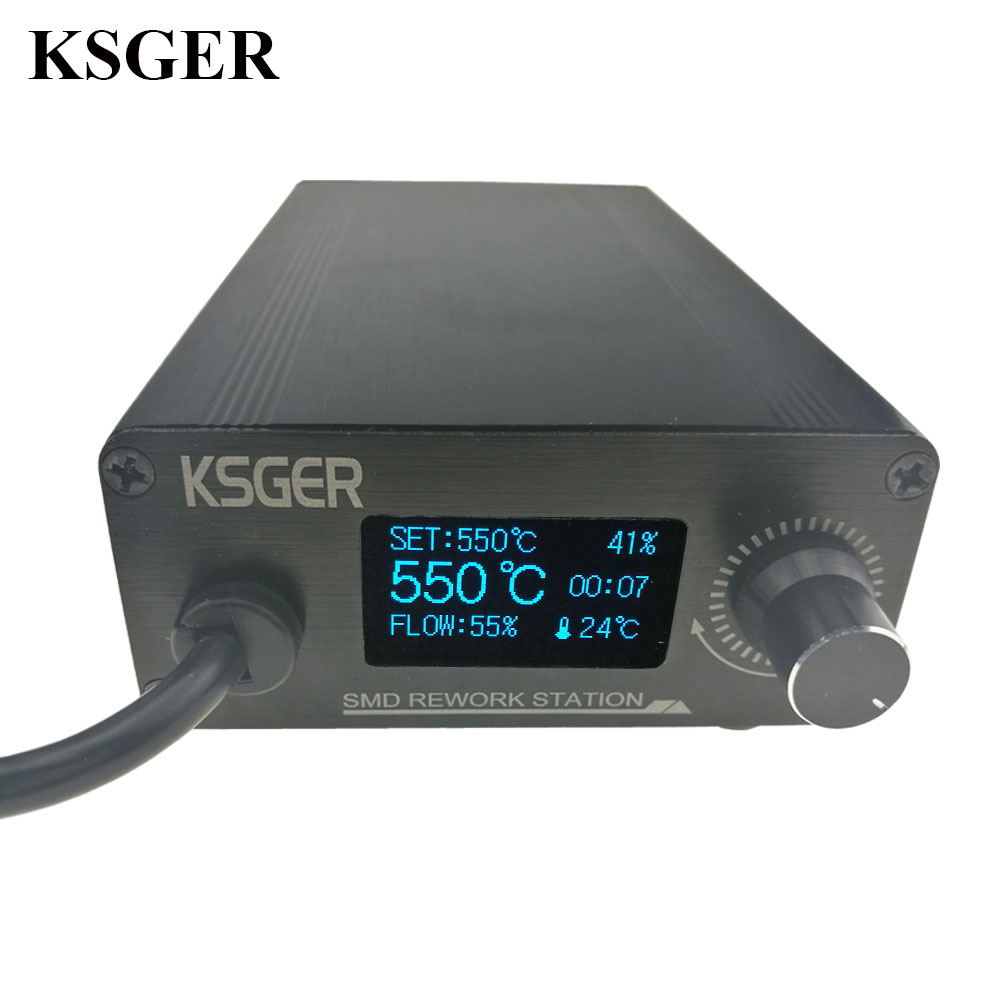 KSGER Hot Air Gun Iron Station DIY OLED T12 Handle Adjustable Electric Nozzle Stand Dryer Welding