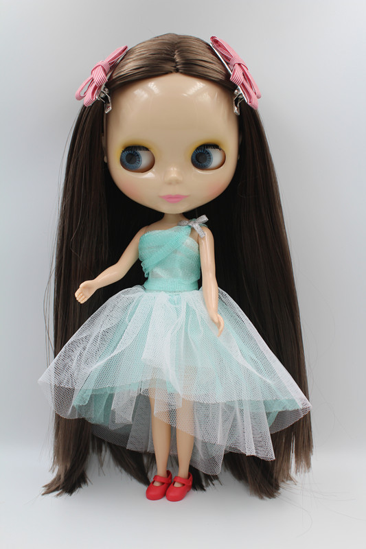 Blyth doll,Flesh white skin, dark brown straight hair, nude doll, body has 7 joints, popular gift toys.