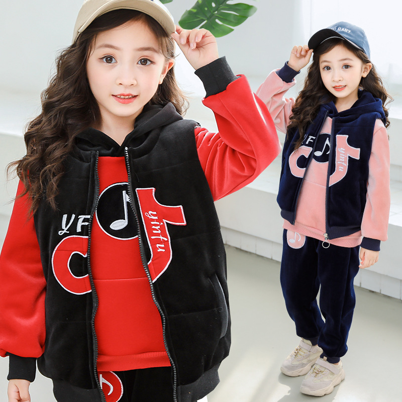 Winter Girls Clothing Sets Baby Girl Clothes Casual Long Sleeve Thick Warm Jackets+Vest+Pants 3Pcs Winter Clothes For Kids Suits купить недорого в Москве