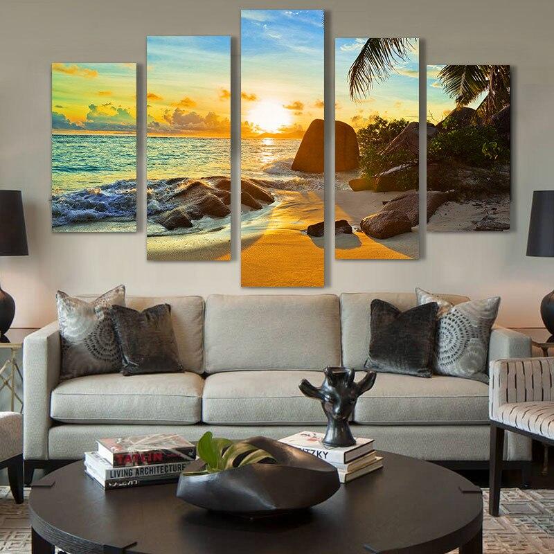 Moderna Della Parete Della Casa di Arte Della Decorazione del Telaio Modulare Le Immagini HD Stampa Pittura A Olio della Tela di canapa 5 Pannello di Ocean Sunset Beach Paesaggio Marino Poster PENGDA