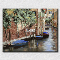 Tiny river in the city European scenery paint for friends gift wall painting for home decoration custom size available