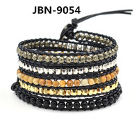 Изысканный природные камни с кристаллами кожа упаковка браслеты оптовая продажа ручной чешские браслет Boho браслет йога браслет