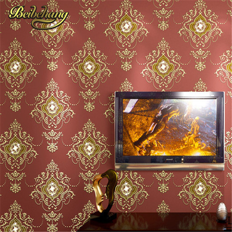 beibehang new High Quality non-woven wallpaper roll damask glitter wallpaper for living room 3d wallpaper for home decorati