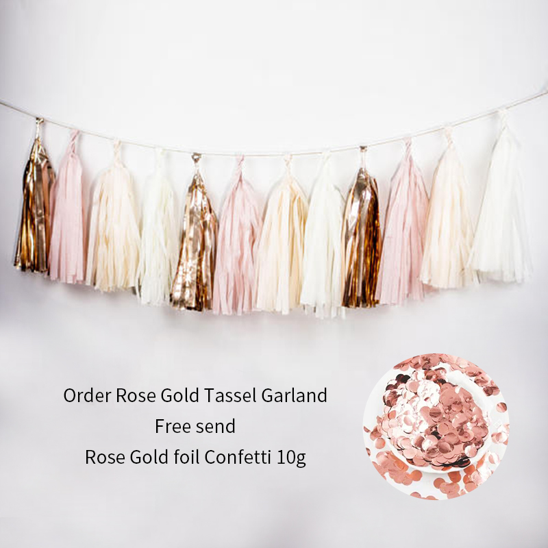 1 set Beige Rose Gold Pink Garland Tassels DIY Kit contains 15 tassels (3 bags) Wedding Baby Bridal Shower Birthday Party Decors